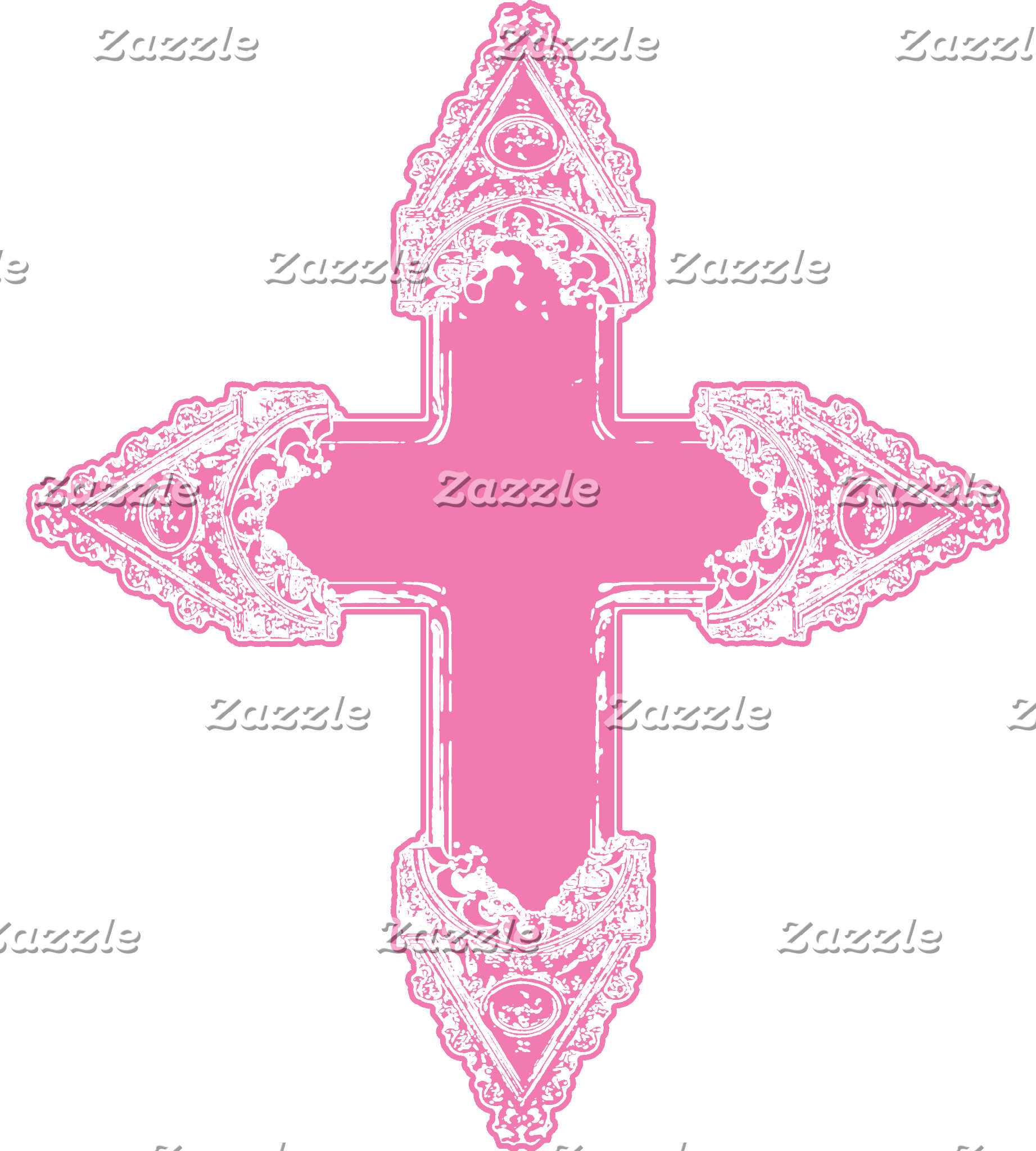 Ornate Pink Gothic Cross T-shirts and Gifts