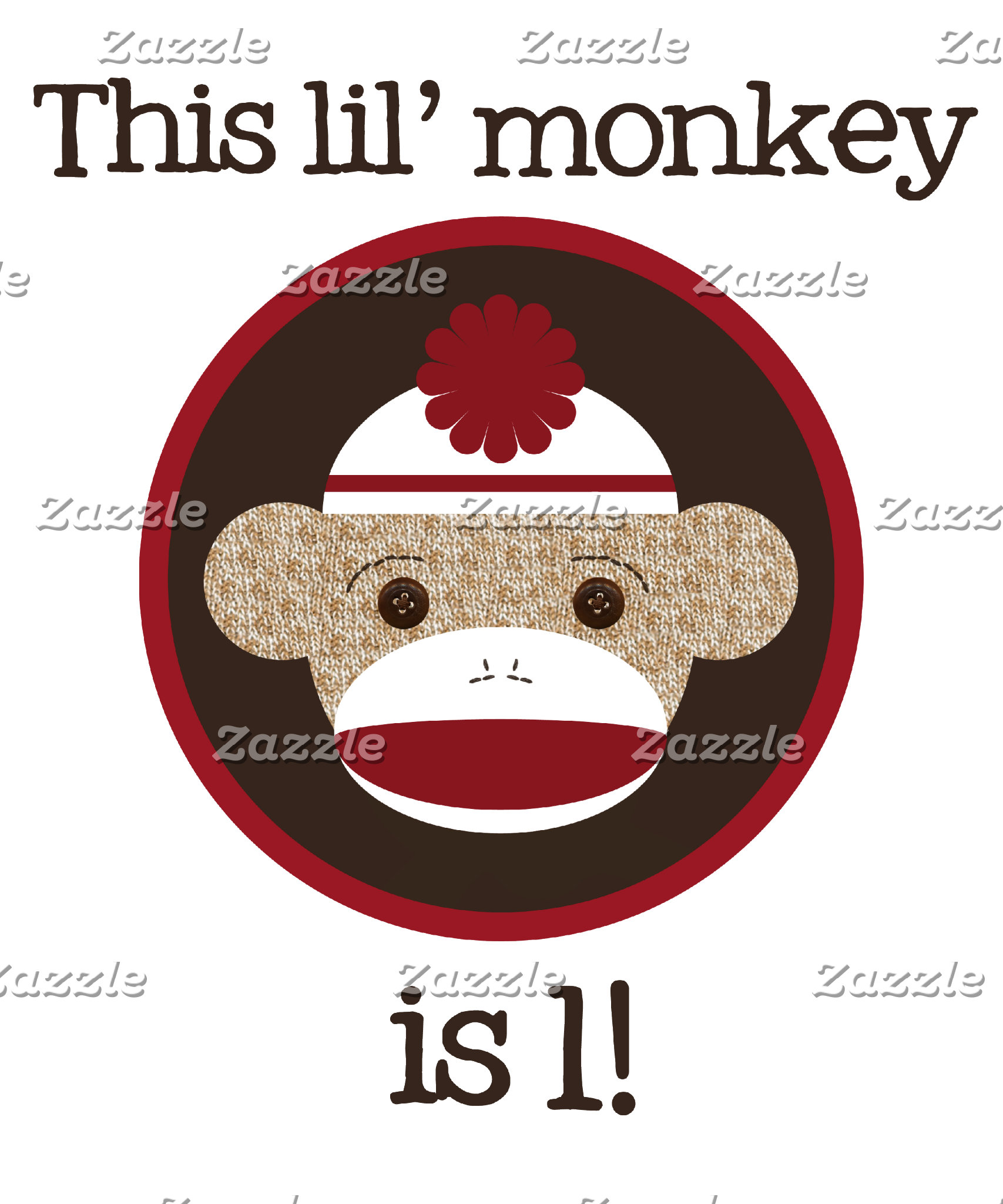 Red & Brown Sock Monkey Birthday Shirts