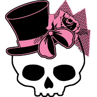 Girly Skull in a Hat with a Pink Bow