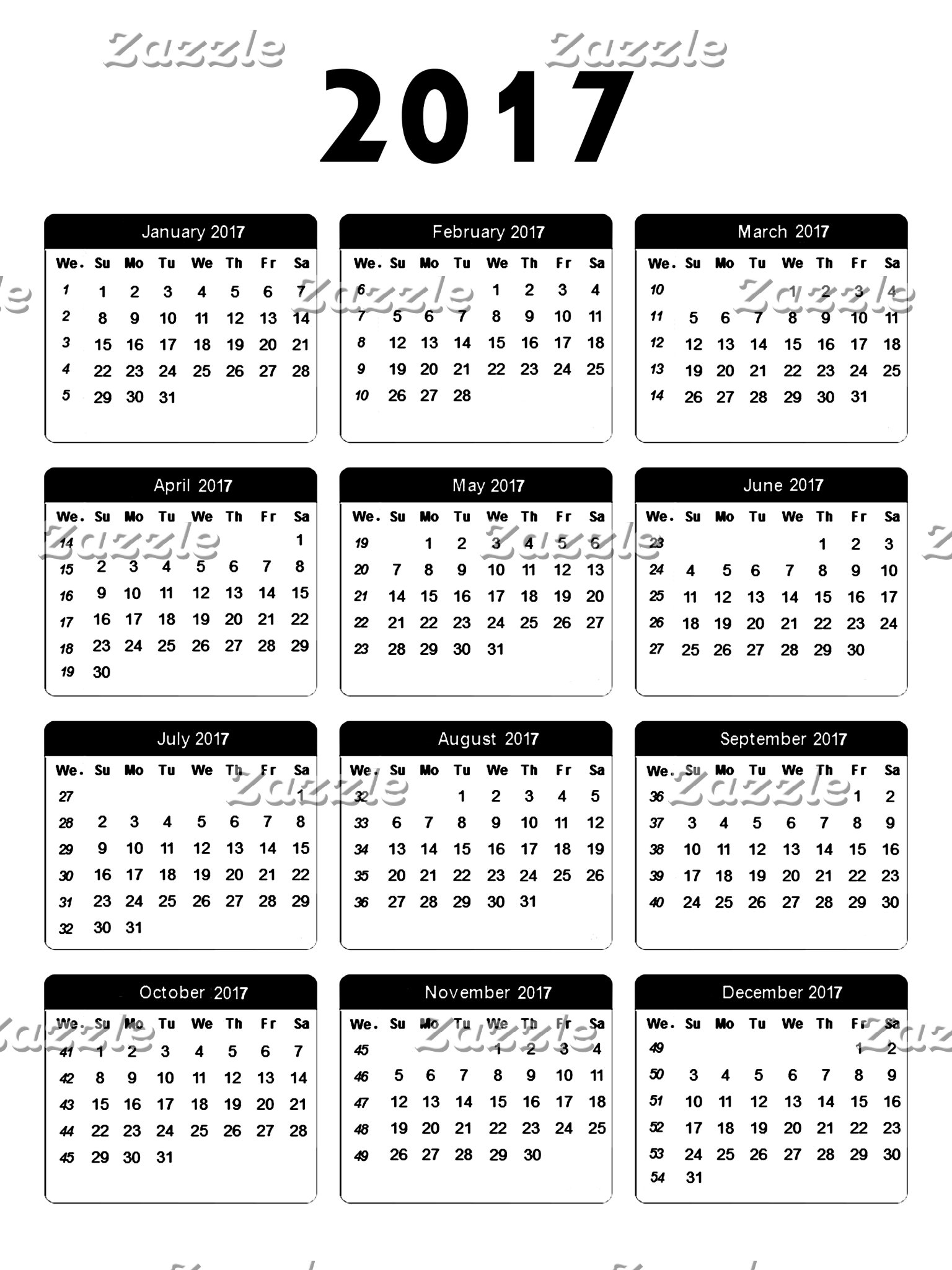 2017 Calendar jGibney The MUSEUM Zazzle