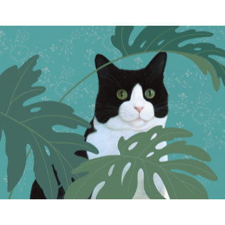 """""""Black and White Cat with Green Eyes Poster Print"""""""