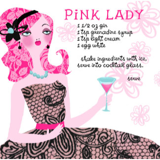 """""""Pink Lady Cocktail Recipe Poster Print"""""""