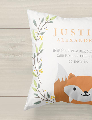 Nursey Cushions & Pillows - Cute Fox Personalised Kid's Cushion