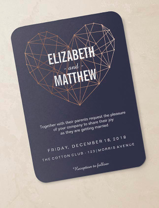 Wedding Invitations - Rose Gold and navy heart wedding invitation