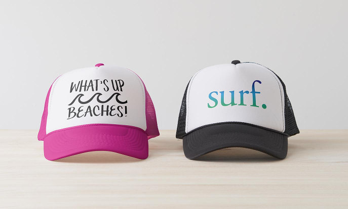 Custom Hats - What's Up Beaches, Surf | Blue and Green Beach Surf Tropical Trucker Hat