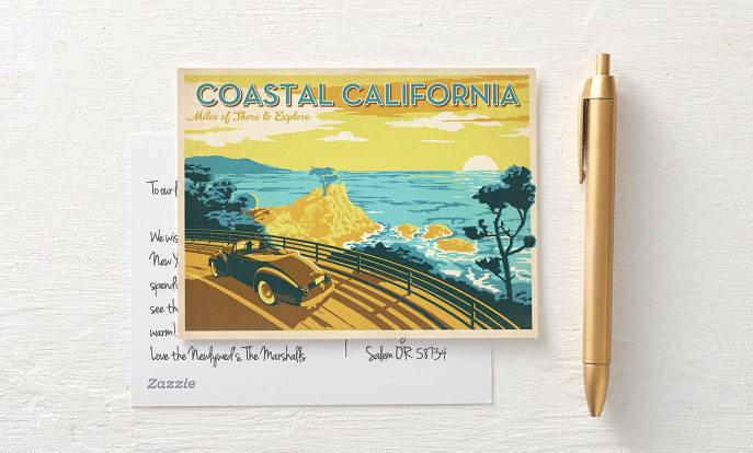 California Coast Vintage Travel Postcard