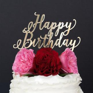 """Happy Birthday"" Gold Custom Cake Topper"