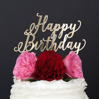 """""""Happy Birthday"""" Gold Custom Wedding Cake Topper"""