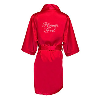 """Red Satin Robe w/Bridal Party Title, """"Flower Girl"""""""