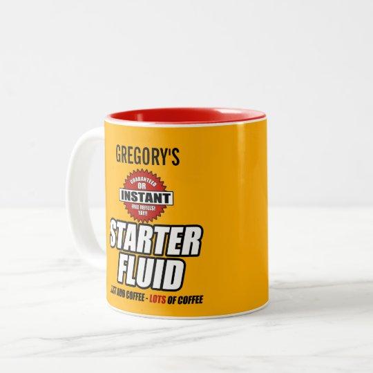 Funny Personalised Starter Fluid Two-Tone Coffee Mug