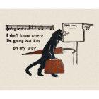 Travelling Black Cat Vintage Style Postcard Zazzle