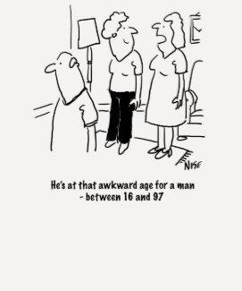 Wife says husband is at that awkward age tshirts