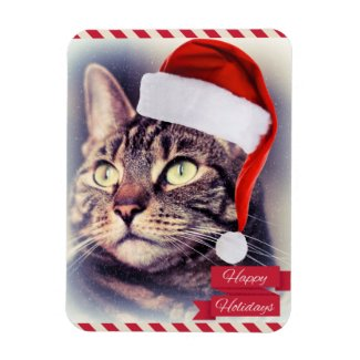 Happy Christmas Cat Rectangular Photo Magnet