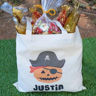 Personalised Pumpkin Pirate Halloween Tote