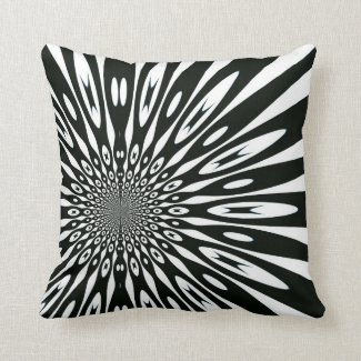 Trippy Black White Optical Pattern Cushion