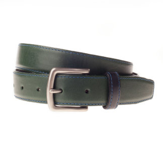 Burnished Silver Buckle with Forest Green Leather Belt