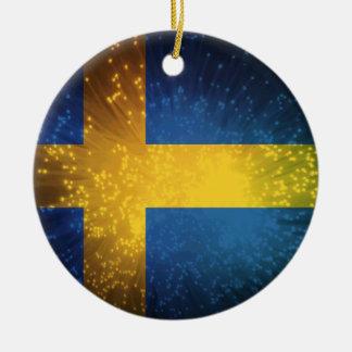 Sverige; Sweden Flag Christmas Ornament