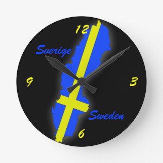 Sverige = Sweden Map Round Clock