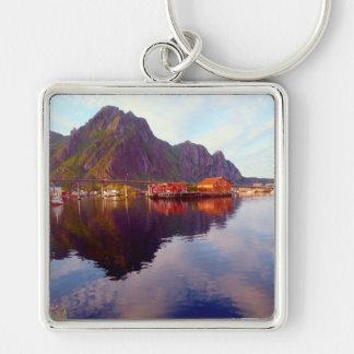 Svolvaer, Lofoten Islands Silver-Colored Square Key Ring