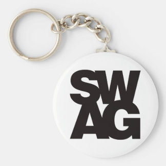 Swag - Black Basic Round Button Key Ring