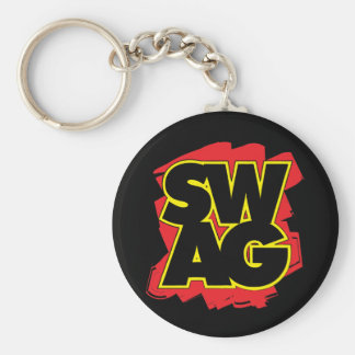 SWAG - Black & Red Basic Round Button Key Ring