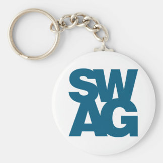 Swag - Blue Basic Round Button Key Ring