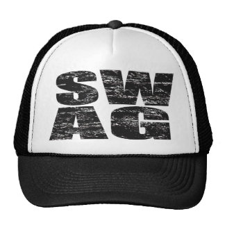 SWAG Distressed Mesh Snapback Trucker Hat (black)