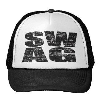 SWAG Distressed Mesh Snapback Trucker Hat (black)