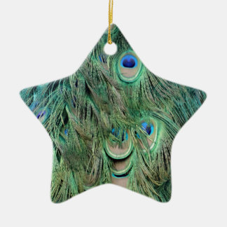 Swag Green And Blue Peacock Feathers Christmas Ornament