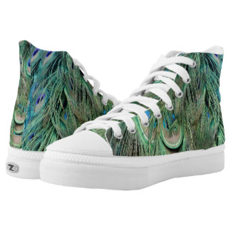 Swag Green And Blue Peacock Feathers High Tops