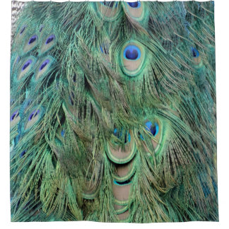 Swag Green And Blue Peacock Feathers Shower Curtain