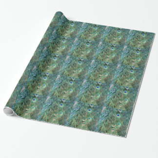 Swag Green And Blue Peacock Feathers Wrapping Paper