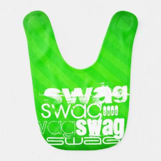 Swag; Neon Green Stripes Baby Bib