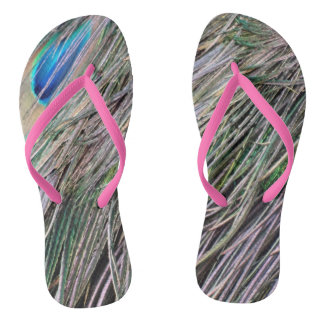 Swag Peafowl Feathers Cool Colors Flip Flops