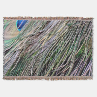 Swag Peafowl Feathers Cool Colors Throw Blanket
