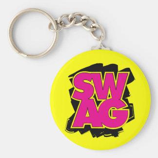 SWAG - Pink & Yellow Basic Round Button Key Ring