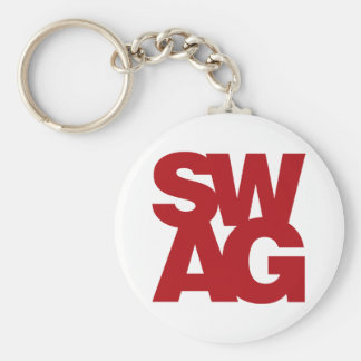 Swag - Red Basic Round Button Key Ring