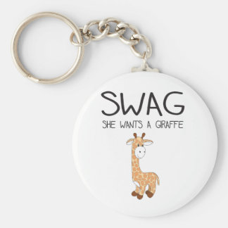 SWAG She Wants A Giraffe Basic Round Button Key Ring