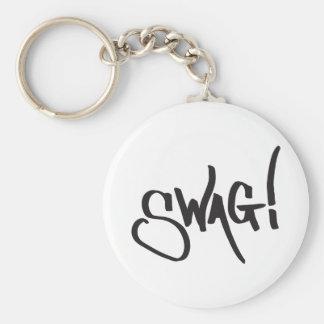 Swag Tag - Black Basic Round Button Key Ring