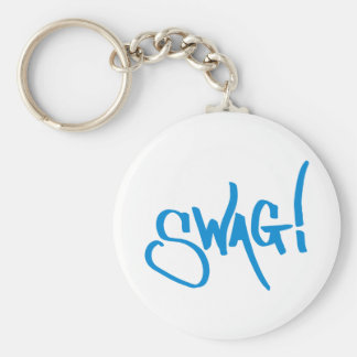 Swag Tag - Blue Basic Round Button Key Ring