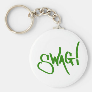 Swag Tag - Green Basic Round Button Key Ring
