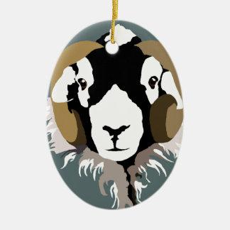 SWaledale sheep head Ceramic Oval Decoration