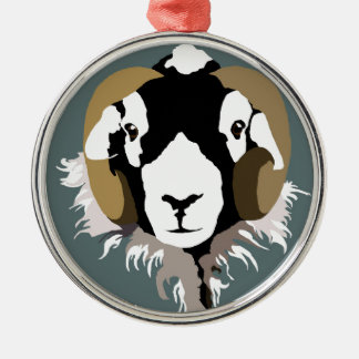 Swaledale Sheep Silver-Colored Round Decoration
