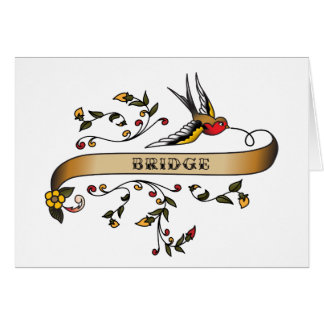 Swallow and Scroll with Bridge Greeting Card