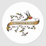 Swallow and Scroll with Chiropractic Classic Round Sticker