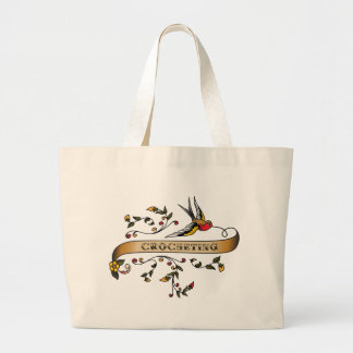 Swallow and Scroll with Crocheting Large Tote Bag