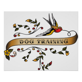 Swallow and Scroll with Dog Training Print