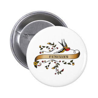 Swallow and Scroll with Feminism 6 Cm Round Badge