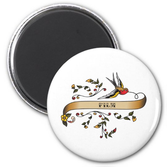 Swallow and Scroll with Film 6 Cm Round Magnet