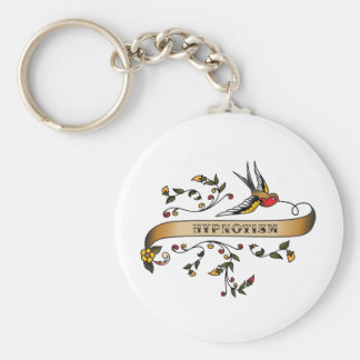 Swallow and Scroll with Hypnotism Basic Round Button Key Ring